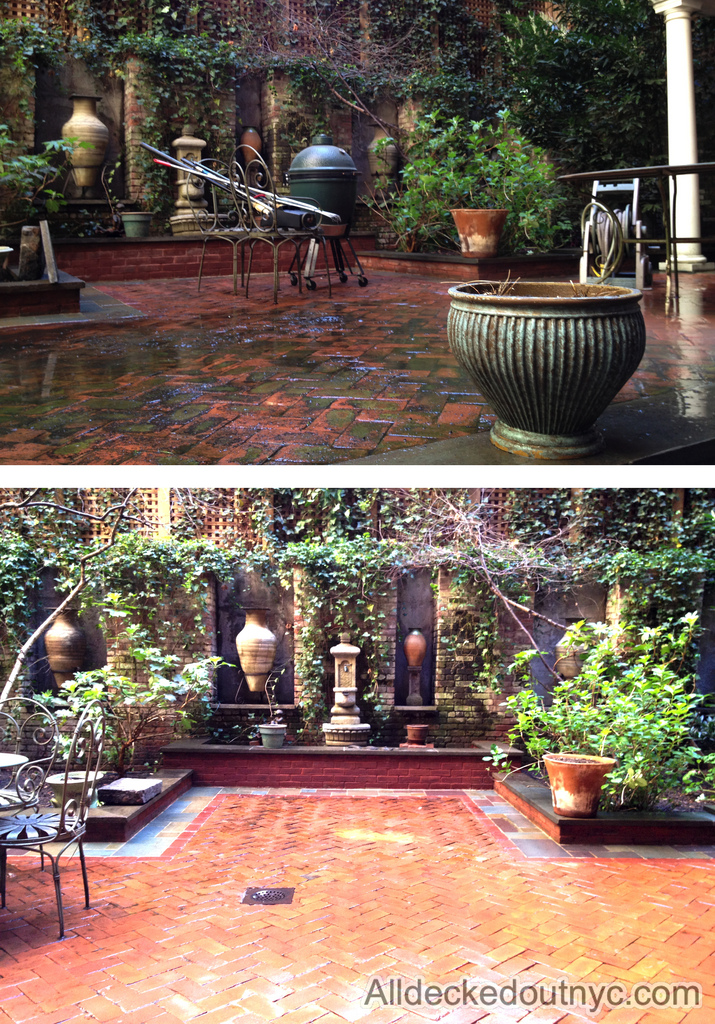 A before and after picture of a backyard patio after it has been power-washed