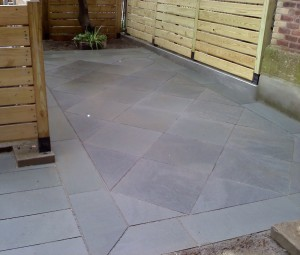 Geometric bluestone patio