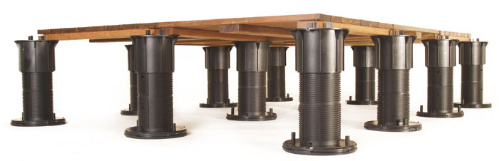 Bison deck pedestals are used for supporting rooftop decks on uneven roofs.
