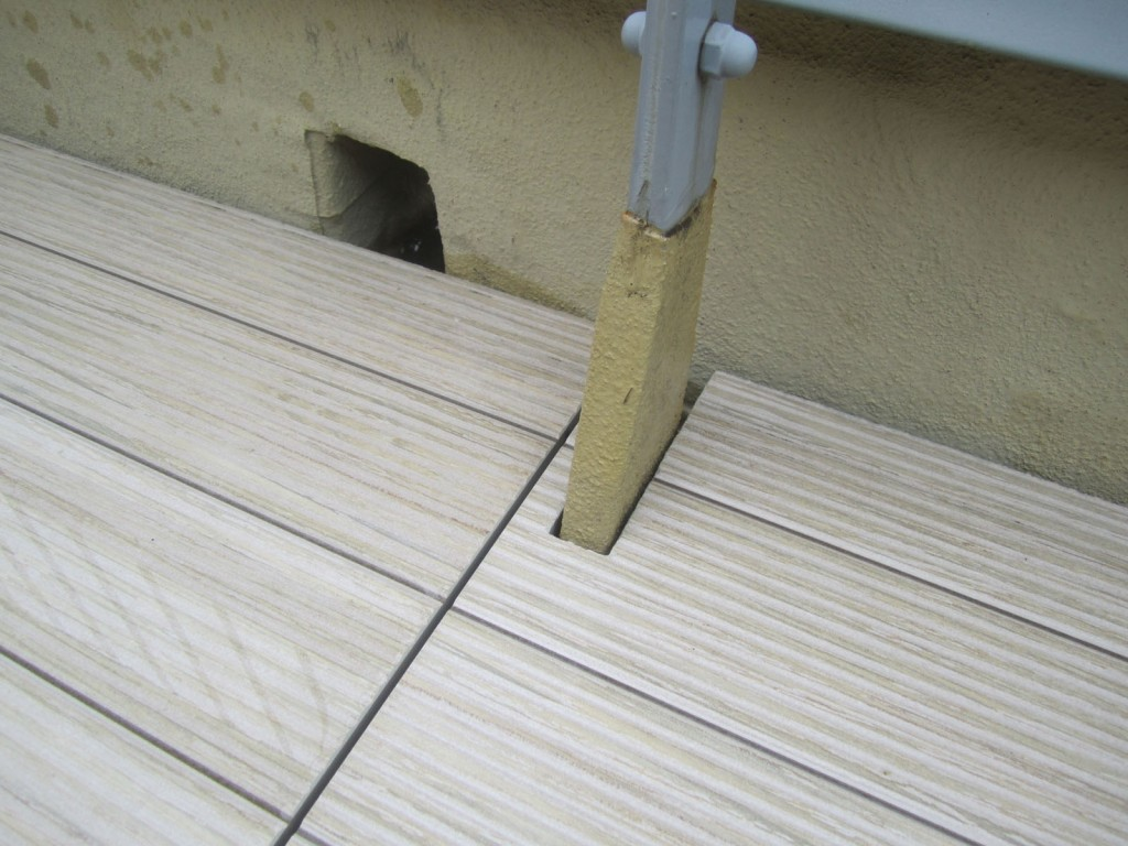 Closeup of cut Porcelain tile on rooftop deck