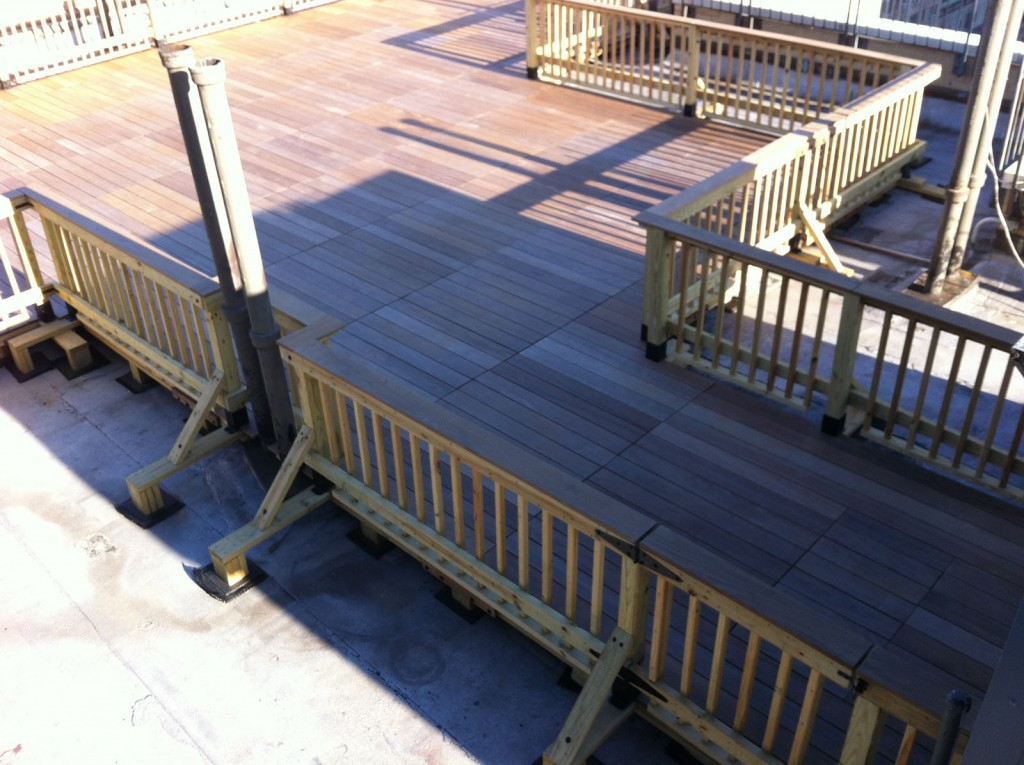 Rooftop deck made with ipe wood with a pedestal decking system