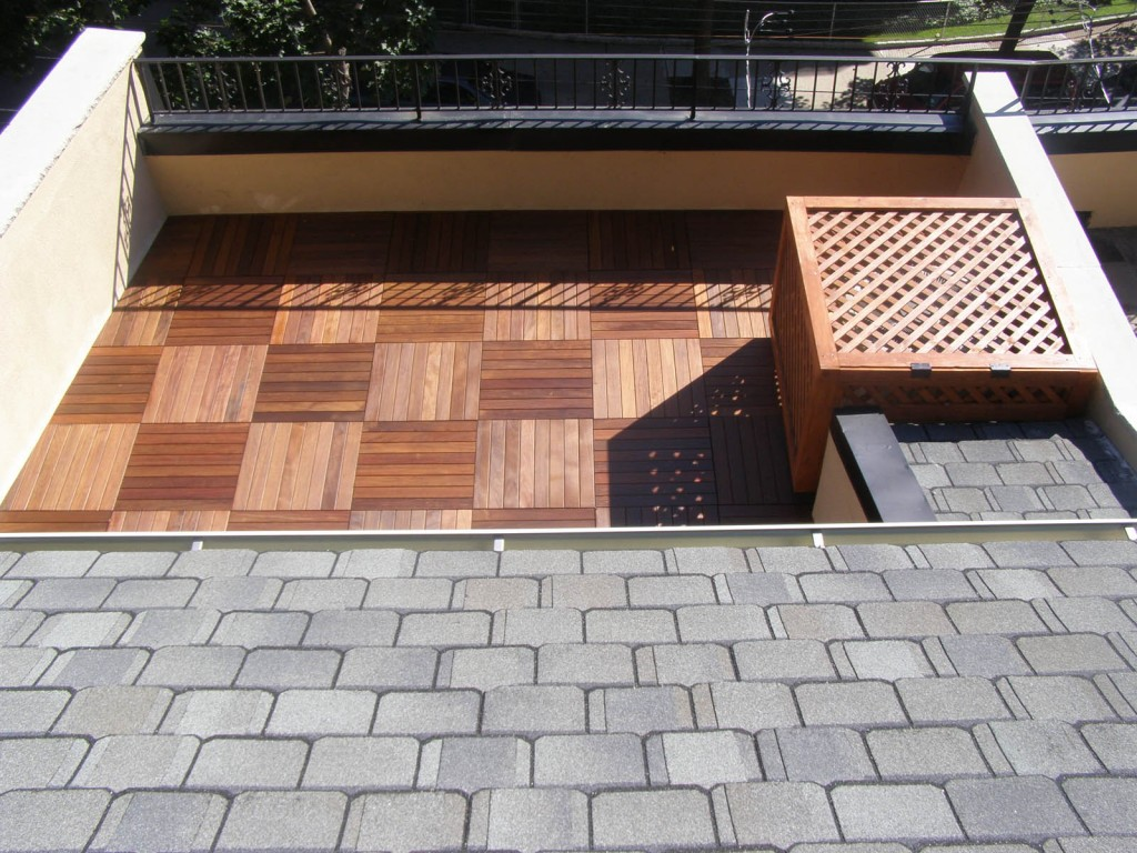 Ipe wood rooftop deck, aerial view.