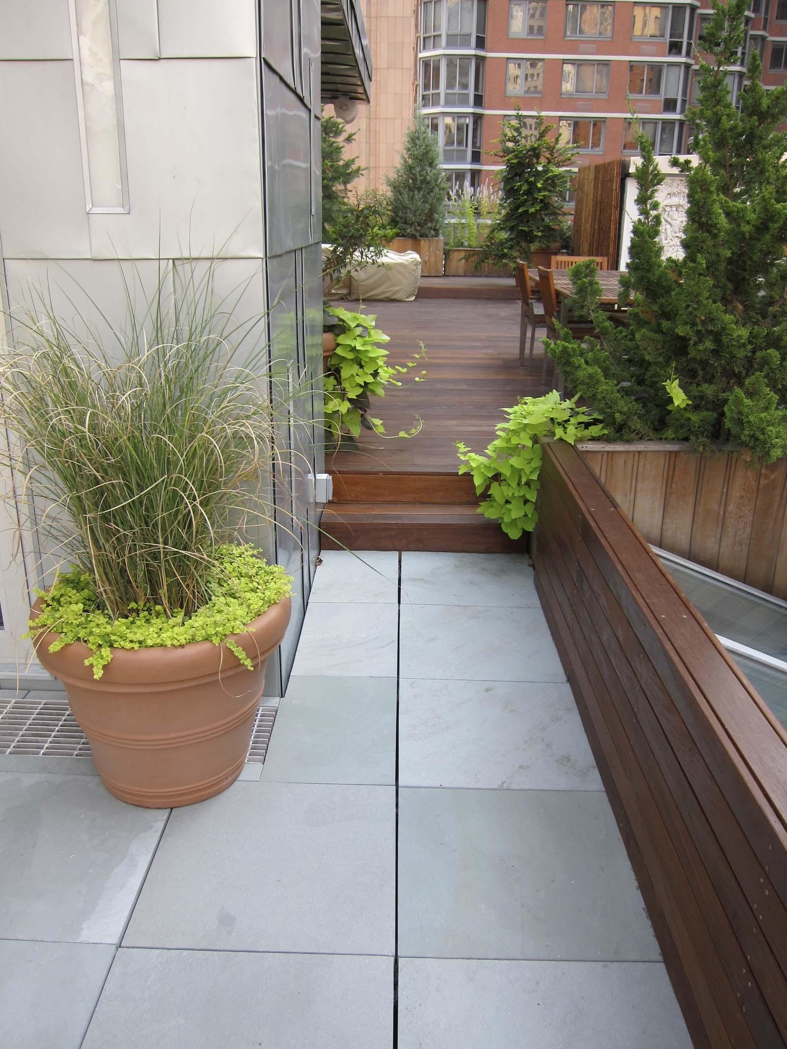 Hybrid Bluestone And Wood Deck Terrace In NYC