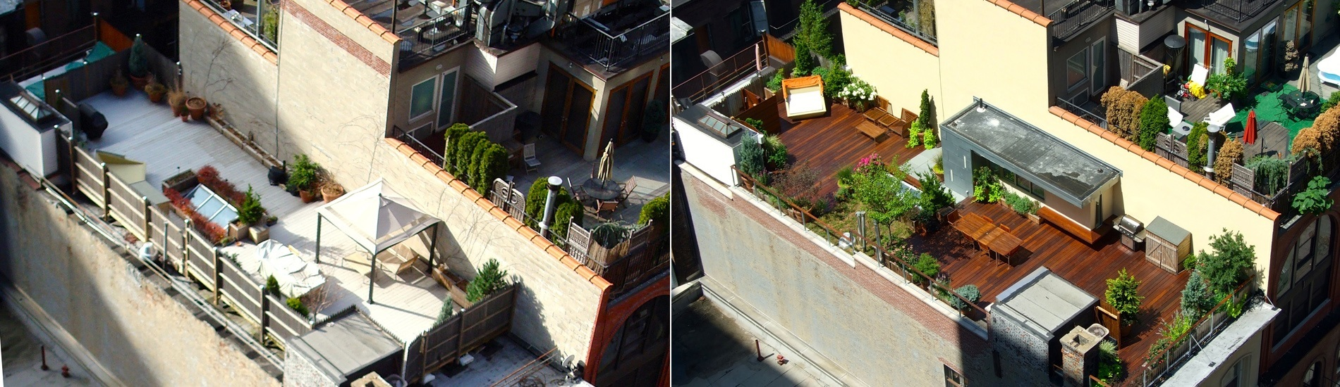 Before and after photo of a rooftop garden in Tribeca, NYC.