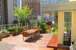 A custom built rooftop deck in New York City. Wood decking with planters, custom furniture and tree planters