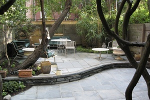 A backyard patio in Greenwich Village NYC.