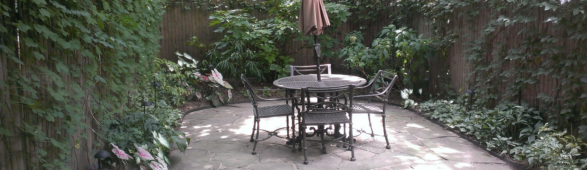 Irregular bluestone patio in Brooklyn