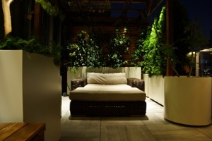 A low-voltage lighting design of a rooftop terrace garden in NYC