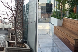 Before and after photos of a porcelain deck terrace in Manhattan